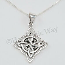 "WITCH'S CELTIC PROTECTION KNOT Pendant 925 Sterling Silver 18"" 925 box Necklace"
