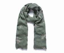 Ladies Green Scarf with Embroidered Dragonflies