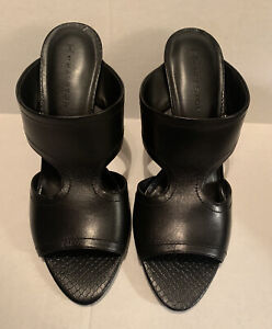 H by Halston Holly Black Leather Open Toe Cut-Out  Wedge Sandals Womens Size 11