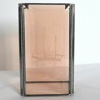 Stained Glass Etched Sailboat Nautical Leaded Pillar Votive Candle Cover Peach