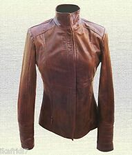 Ladies Handmade Original cow Leather Fashion Jacket Brown All Sizes Availabl