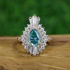 2 CT Cyan Blue Pear Moissanite Ring/ Blue Moissanite Engagement Ring