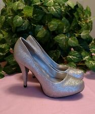 """Sarah Jayne™ shoes silver stiletto size 8.5, heels 4.5"""", used, sparkly"""