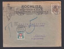 GERMANY 1915 SWISS POSTAGE DUE ON SPORTING GOODS ILLUSTRATED COVER