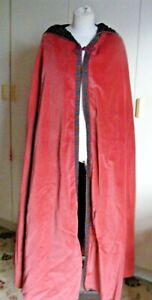 Vintage dusky red velvet full length theatrical cloak with hood toggle fastener