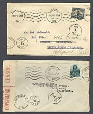 SOUTH AFRICA Postage Due WW2 Censored Redirect Cover 1941-42 CAPE TOWN HOLLYWOOD