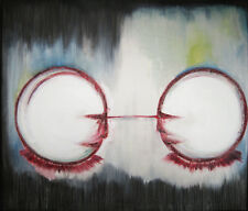 Original Martine LEtoile Oil Painting Large Canvas Texture Framed Clowns White