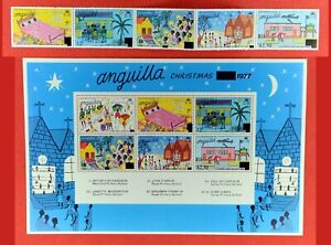 ZAYIX - 1977 Anguilla 310a-b MNH - Christmas / Children's Drawings