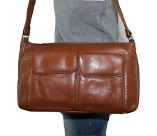 PRESTON & YORK Medium Brown Leather Shoulder Hobo Tote Satchel Slouch Purse Bag