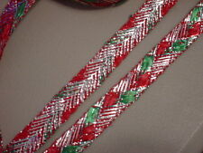 5 YDS METALLIC HOLIDAY RIBBON IN SILVER, RED AND GREEN