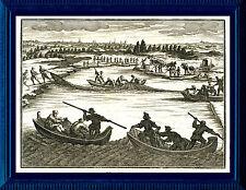 """Fischerei - Graphik, Grafik - Kupferstich 1702 (""""Von der Fischerey in den Seen"""")"""