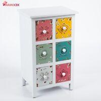 MOBILETTO CASSETTIERA LEGNO bianco 6 cassetti colorati cm.45x35 h76 Shabby chic