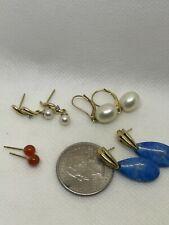 Excellent Lot of 4 Ladies 14k Gemstone Earrings Wear Not Scrap