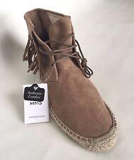 8b5a35aca30 NEW Mango Esparta C Suede Espadrille Fringe High Top Ankle Boots Tan Size  US 9.5