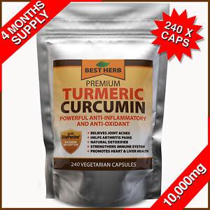 240 Turmeric 95% Curcumin BioPerine Black Pepper Pills 10,000mg Extract Tumeric
