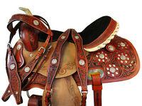 ARABIAN HORSE SADDLE 15 16 WESTERN BARREL SHOW PLEASURE TRAIL TOOLED LEATHER SET