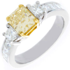 Fancy Yellow 3.25 CT Radiant cut Diamond Engagement Ring GIA certified 18K Gold
