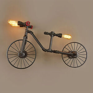 Large Vintage Bike Style Industrial Rustic Steampunk Scone Wall Light Bicycle