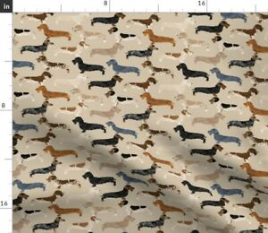 Haired Dogs Tan Dachshunds Wiener Dachshund Pets Spoonflower Fabric by the Yard