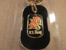 Key Chain U S Navy Dog Tag with chain necklace Brass - NEW