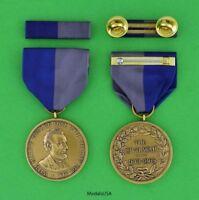 Civil War Campaign Medal & Mounted Ribbon Bar - USA ARMY - ring top USA made -