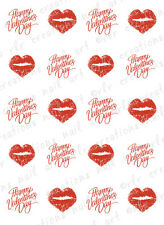 20 Nail Decals VALENTINE KISS HEART LIPS Happy Vtine Waterslide Nail Decals