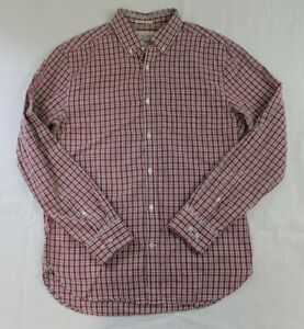 Lucky Brand Mens White Label Fit Long Sleeve Button Down Red Plaid Medium
