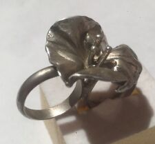 STERLING SILVER 2 FINGERS KNUCKLE  FLOWER RING SIZE 6.5-7