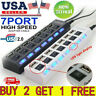 7 Port USB 2.0 Hub with High Speed Adapter ON/OFF Switch for Laptop PC Splitter