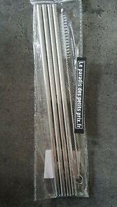 paille réutilisable en acier inox , 4 pailles droite de 21.5 cm + goupillon,