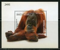 SIERRA LEONE  2018 NATIONAL GEOGRAPHIC ORANGUTAN SOUVENIR SHT MINT  NEVER HINGED
