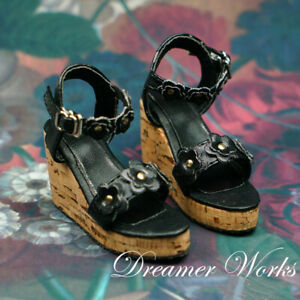 1/4MSD 1/3SD BJD Shoes Wedges Thick Sole Sandals High Heels Black Flowers Deco