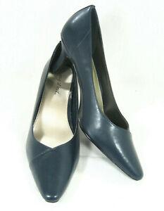 EASY STREET Womens Navy Blue Chiffon Pump Heels Shoe Sz 12 W 40-5510 *2