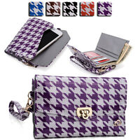 Womens Houndstooth Wallet Case Clutch Cover for Smart Cell Phones by KroO MLPK11