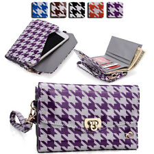 Womens Houndstooth Wallet Case Clutch Cover for Smart Cell Phones by KroO MLPK13