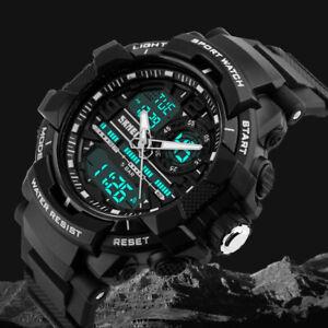 Fashion Mens Digital Military Watches waterproof Sport Watch Analogue Quartz LED