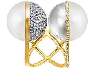 NIB $349 Swarovski Festival Ring Double Pearl Statement Size 55/M/7 #5237780