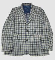 $840 Strongsuit Men's 40R Gray Blue Plaid Classic Sport Coat Suit Jacket Blazer