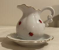 """VINTAGE I.W. Rice Co Porcelain Creamer Pitcher Saucer Ladybug 3 1/2"""" x 4 3/4"""""""