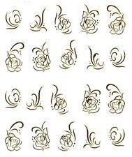 One Stroke Sticker Gold Rose Tattoo Aufkleber Nr.1379