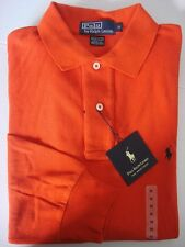 RALPH LAUREN CLASSIC FIT LONG SLEEVE MESH POLO SHIRT RED ORANGE-XXL/XL/L/M/S
