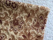 Vintage Brocade Floral Fabric Material Red Burgundy Beige Remnant Rayon Cotton