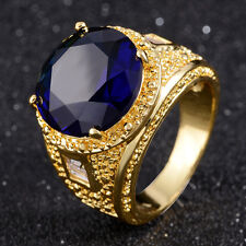 Fashion Jewelry Round Cut Womens 18K Gold Ring Blue Sapphire Men's Wedding Rings