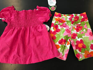 Gymboree Crazy 8 frog turtle pink outfit size 4 4T Hairbow Capri Pants Pink Top