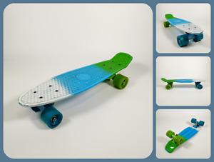"TBF Two Bare Feet Edge Skateboard   22"" Cruiser Penny Board   Green White Blue"