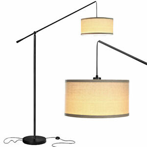 Brightech Hudson 2 Contemporary Hanging Arc Floor Lamp with LED Bulb, Black