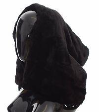 d5952b90700 Dolce   Gabbana Black Weasel Fur Crochet Hood Scarf Hat Wrap One Size