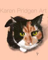 ACEO ATC Art Card Painting Print Signed Cat Cats Kitten Pet Animal