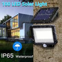 100 LED Solar Wall Light PIR Motion Sensor Outdoor Garden Yard Patio Lamp IP65
