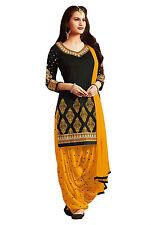 Patiala Indian Designer cotton dress material- 7661 Black